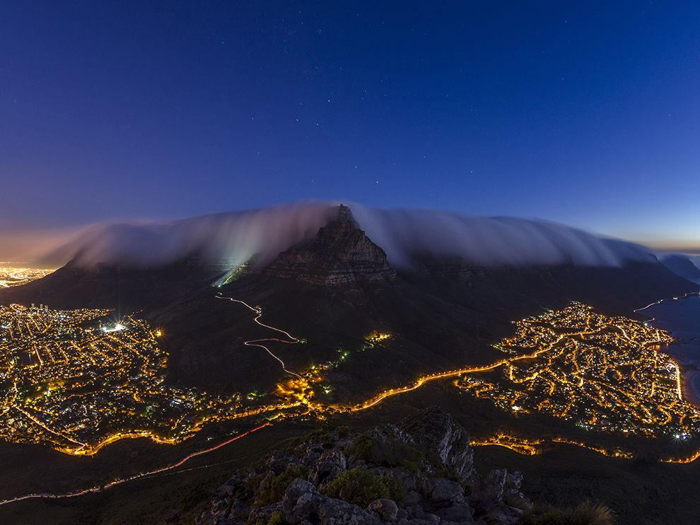Picture of Table Mountain enveloped in fog, Cape Town, South Africa