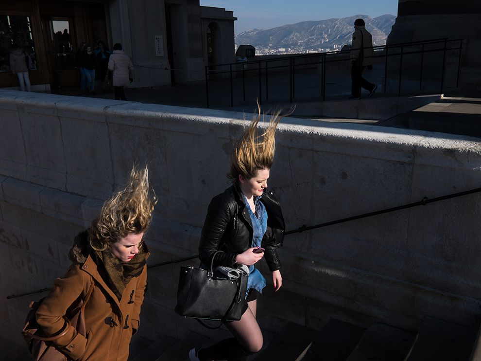 Picture of two women walking up stairs in Marseille, France