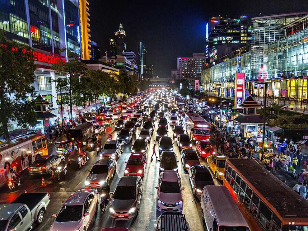 Picture of traffic on a busy city road in Bangkok, Thailand, at night