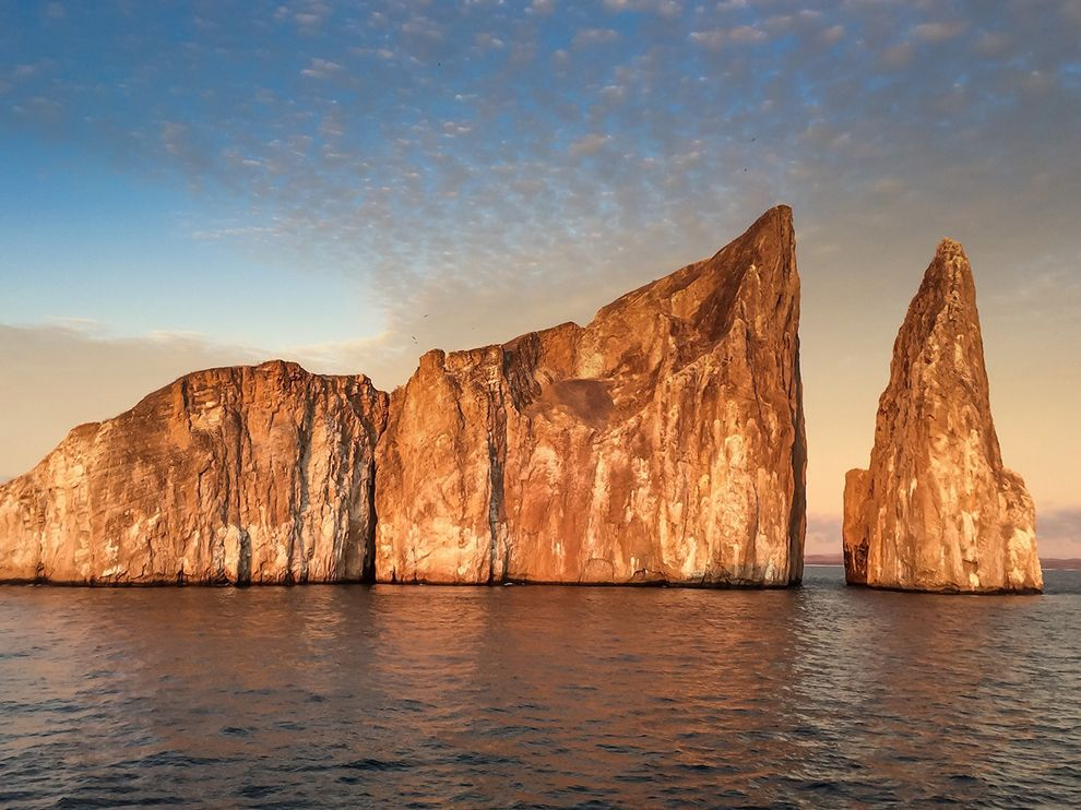 Picture of a sunlit rock formation in the Galapagos Islands