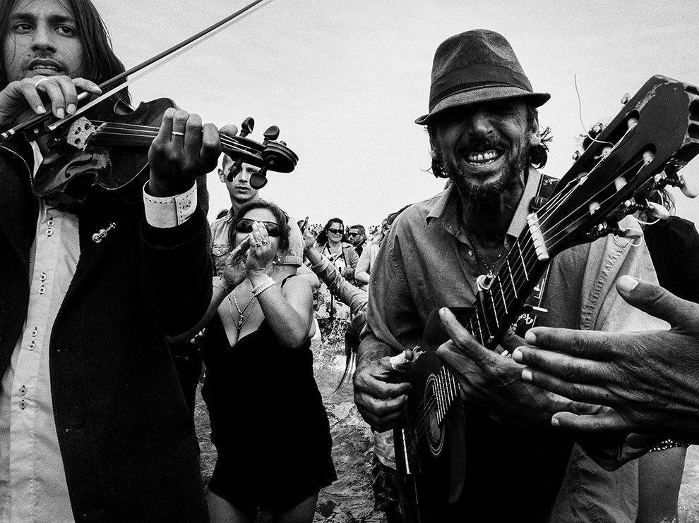 Picture of musicians performing during the Gitan Pilgrimage, Saintes Maries, Camargue, France