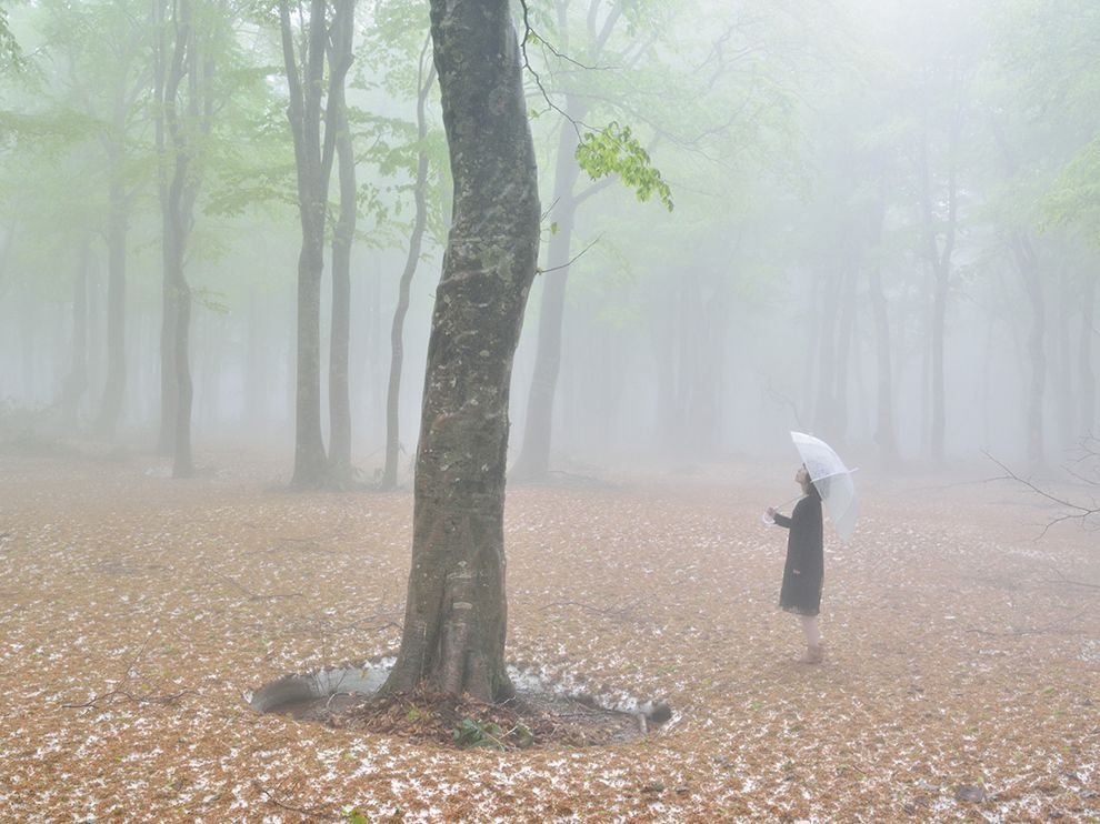 Picture of a woman standing underneath a tree on Mount Hakkoda, Japan