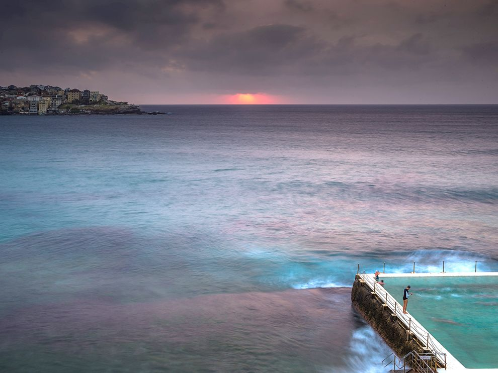 Picture of swimmers at dawn on Bondi Beach, Sydney