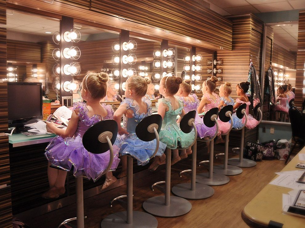 Picture of young ballerinas sitting in front of dressing room mirrors