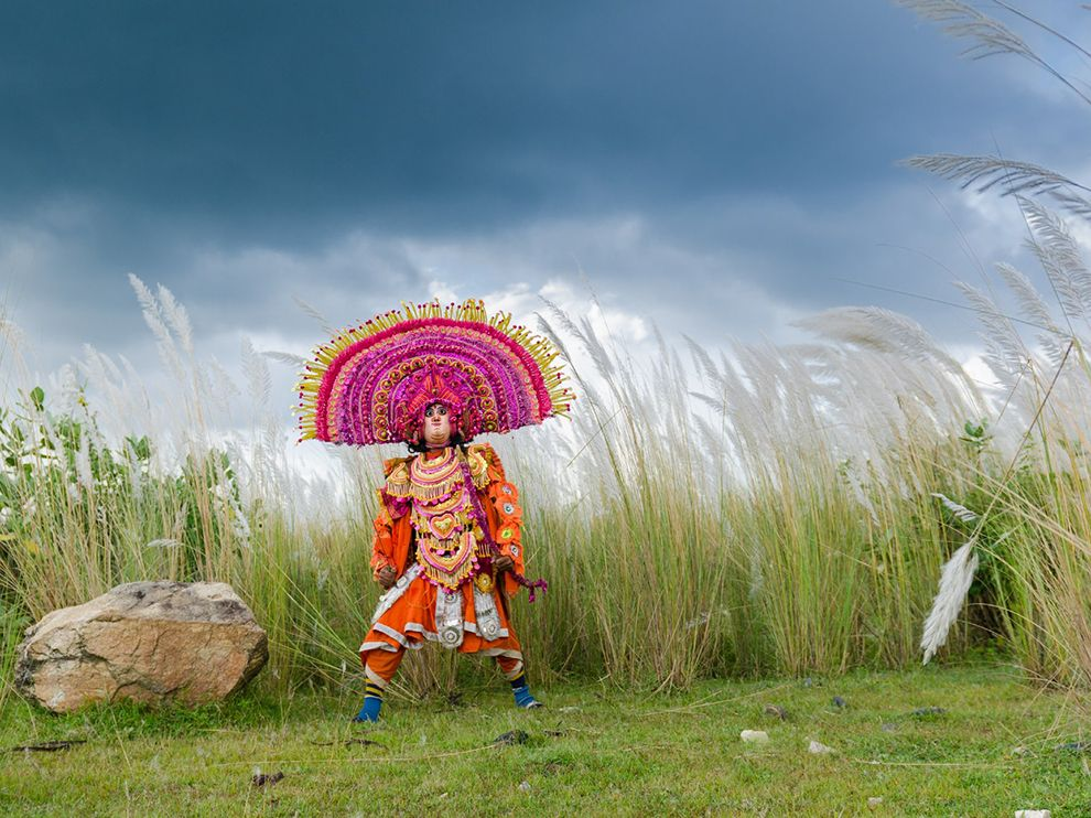 Picture of Chhau dancer performing in costume, West Bengal, India