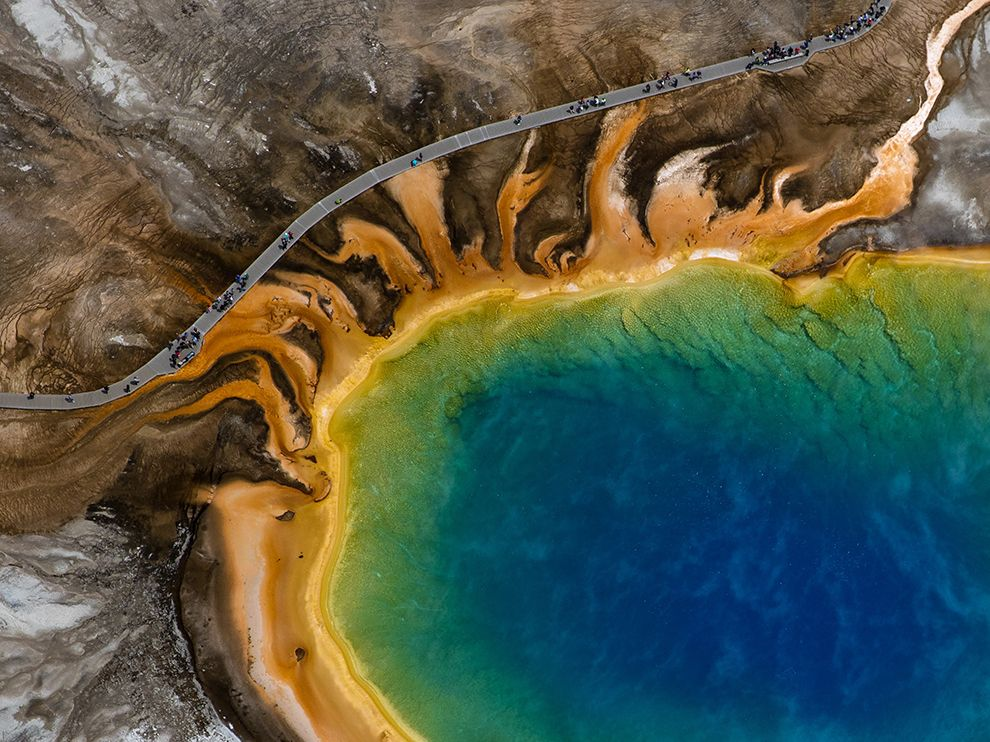 Picture of Yellowstone's Grand Prismatic Spring and visitors path from above