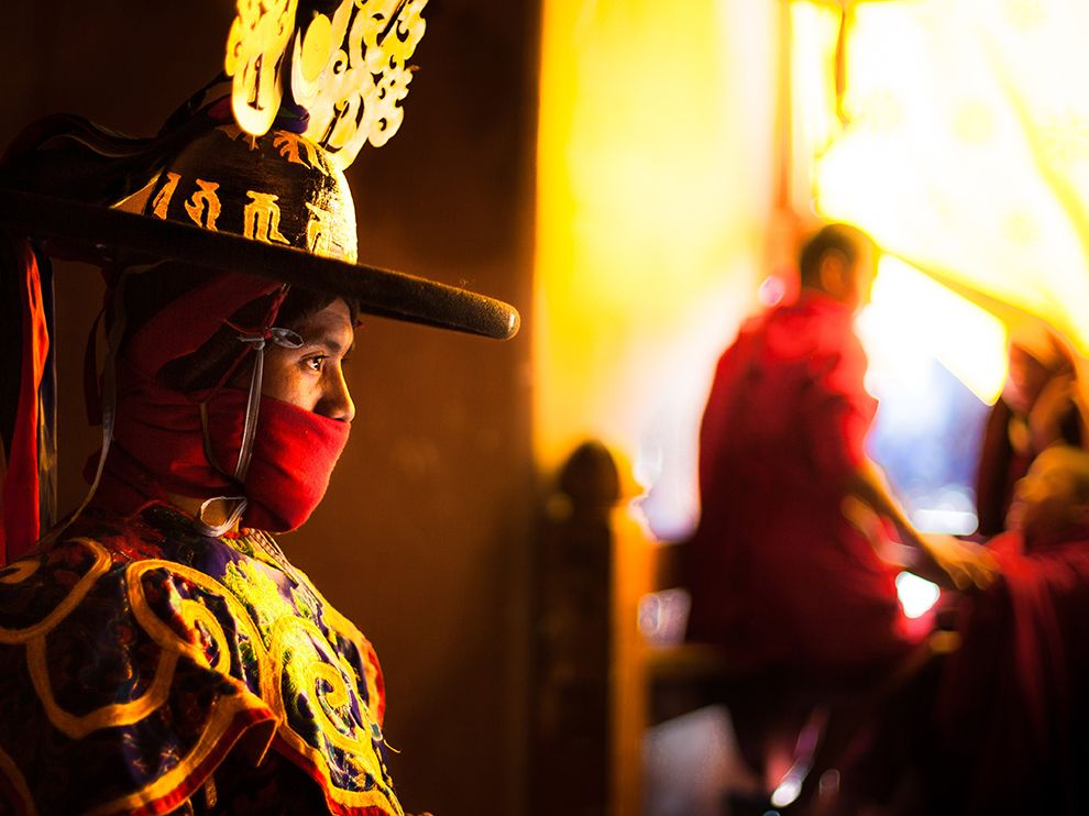 Picture of a Buddhist monk dressed for the black-hat dance, Bhutan