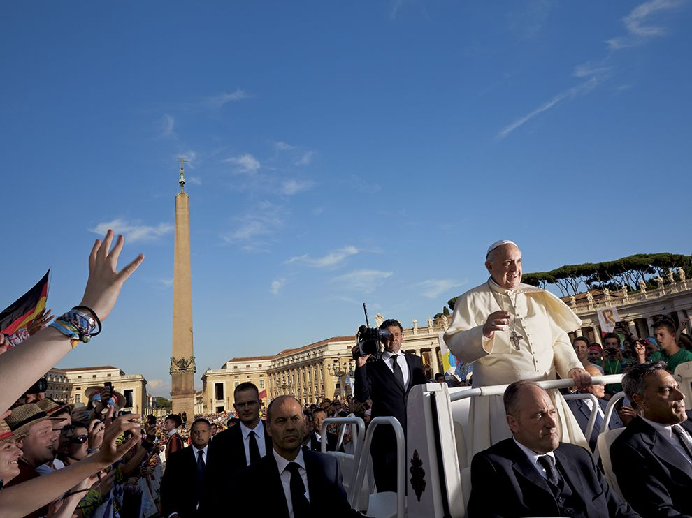 Picture of Pope Francis greeting people in St. Peter's Square
