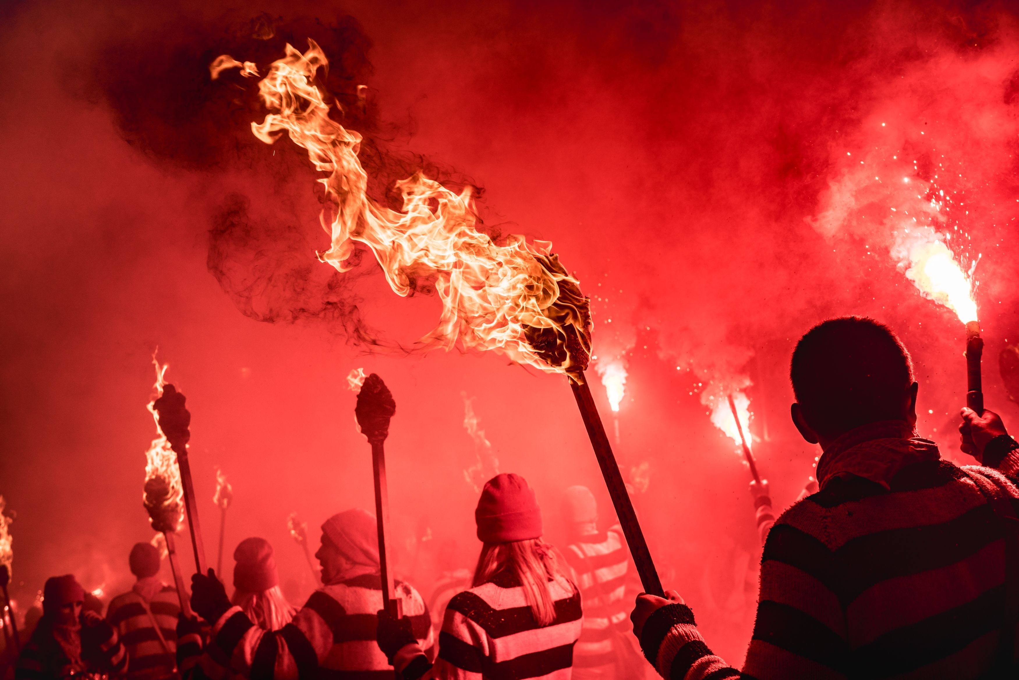 Every November 5th, Brits celebrate Guy Fawkes Night, also known as Bonfire Night. It commemorates the Gunpowder Plot of 1605, when an attempt to blow up the House of Lords was foiled. Celebrations include bonfires and fireworks, and the biggest celebration of all happens in the town of Lewes, shown here.