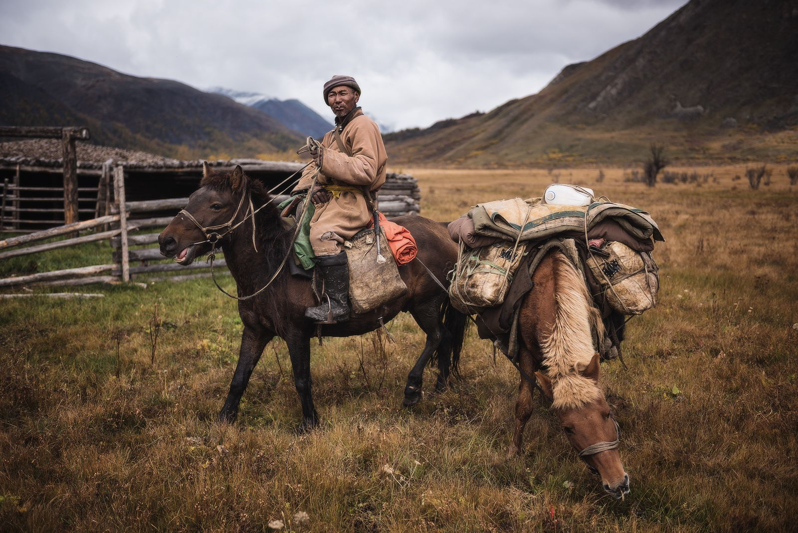 A traveling man pauses with his pack animals in northern Mongolia. Mongolia is the most sparsely populated sovereign nation in the world, with a population density of just five people per square mile.