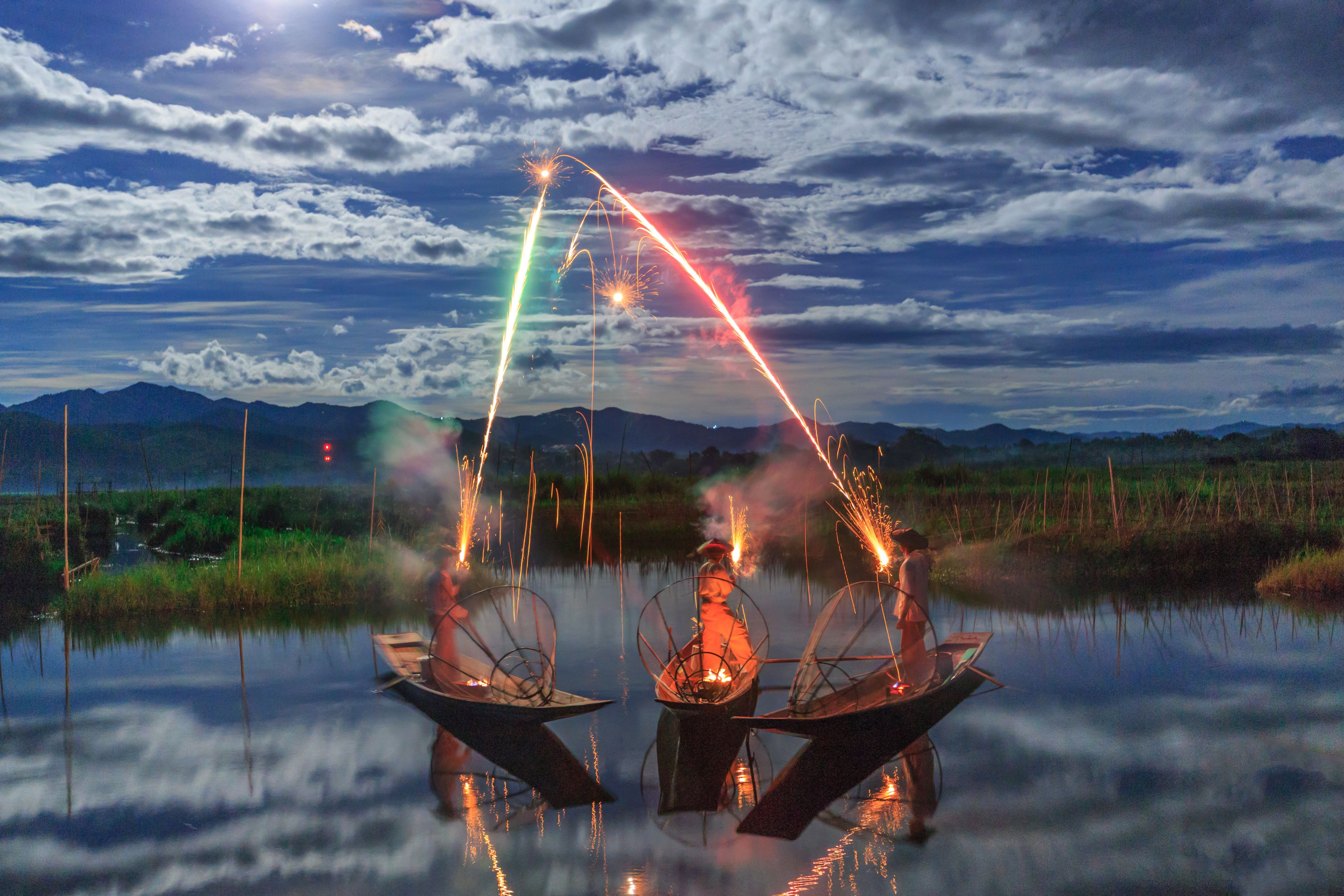 Your Shot photographer Pyiet Oo Aung visited Myanmar's Inle Lake during the Buddhist festival of Thadingyut. The holiday is also known as the Lighting Festival, so to pay tribute, he gave these fishermen fireworks and photographed the festive results.