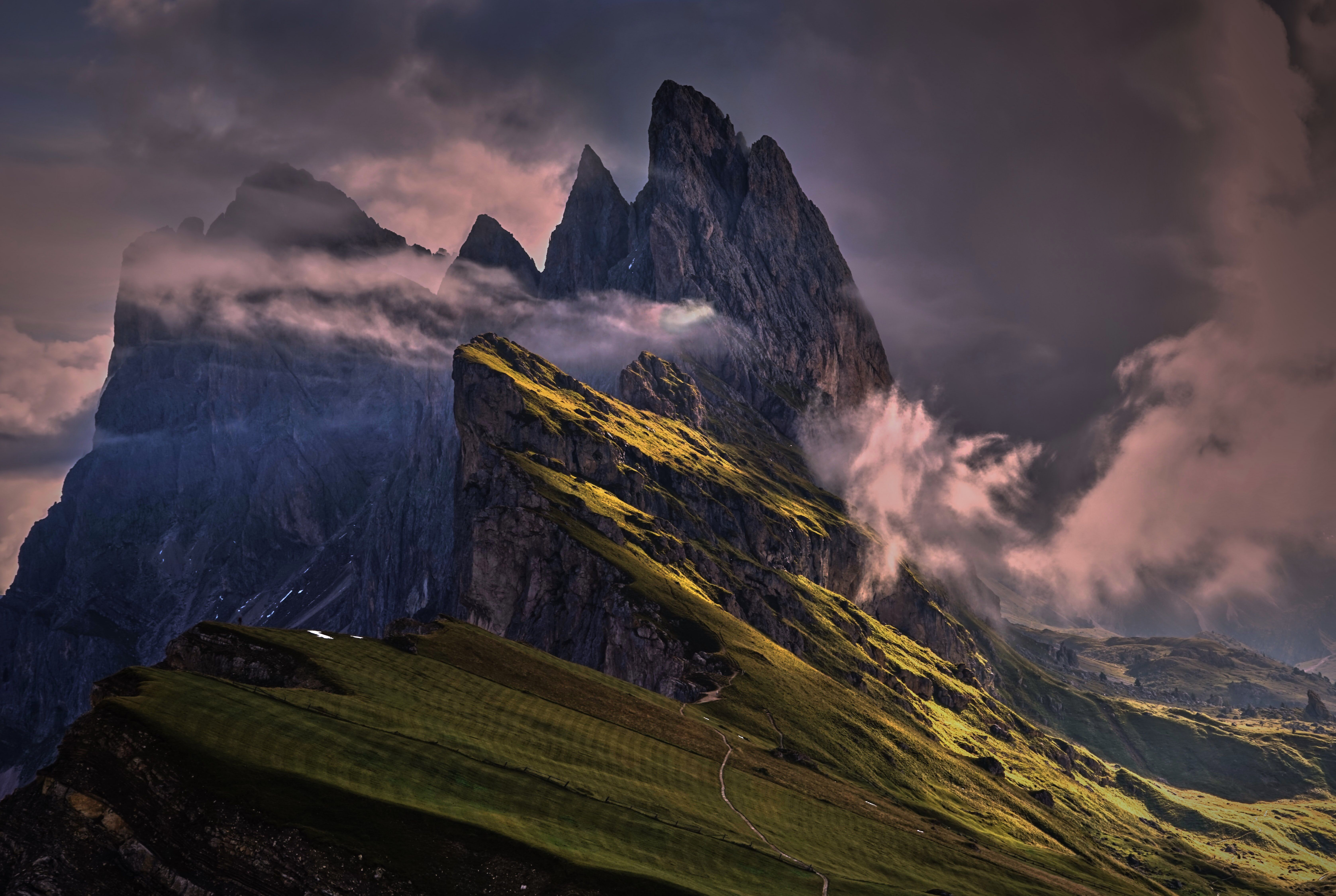 """Your Shot photographer Todd B. had a goal to see the Dolomites, a dramatic mountain range in Italy, at sunrise. But there was one problem--the gondola to the top didn't open until well after the sun was up. Undeterred, he woke up at 4:00 am and hiked two hours to the top of Seceda. """"Needless to say, it was worth it,"""" he says. """"I couldn't have asked for better!"""""""