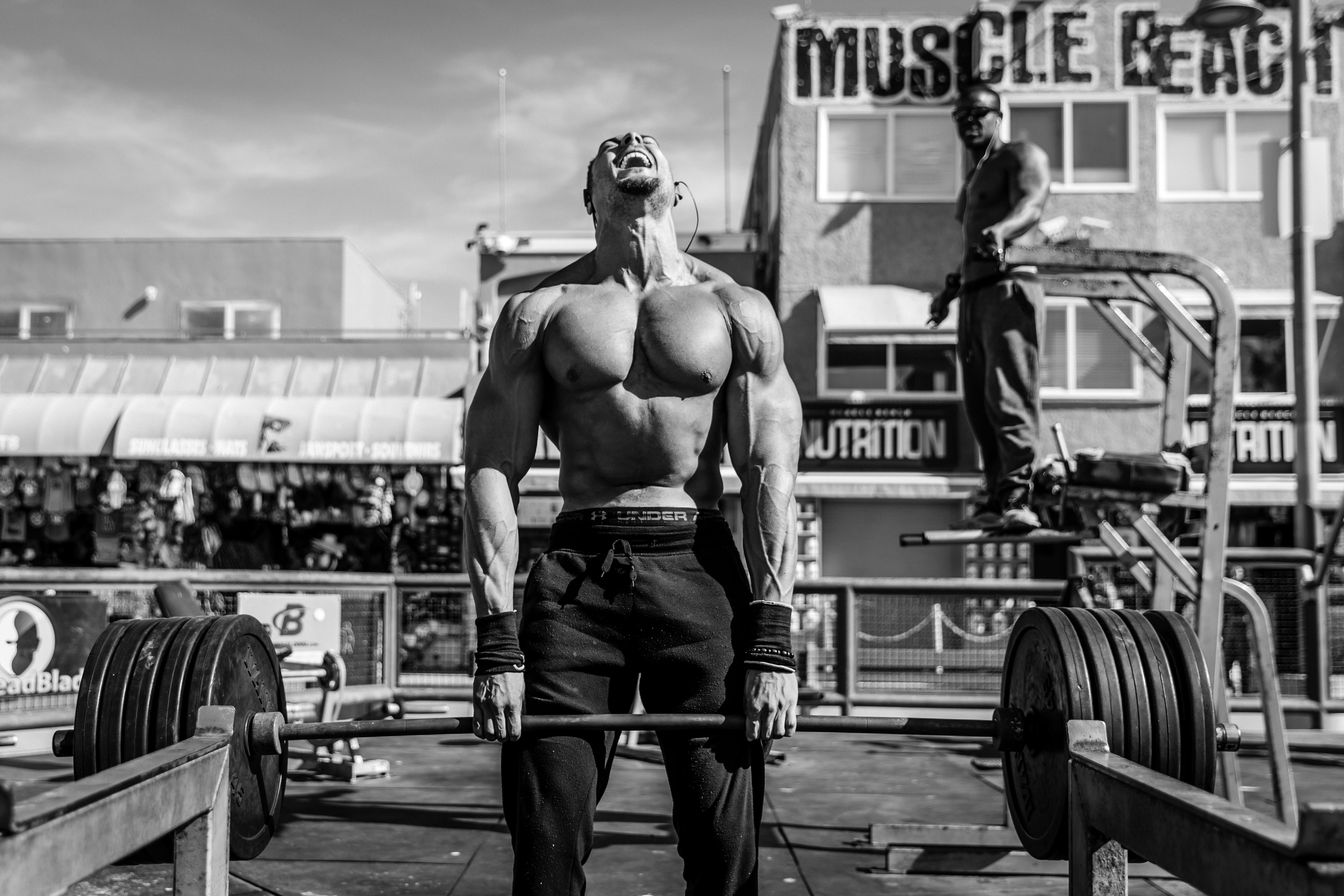 A weightlifting enthusiast works out at Muscle Beach, an outdoor gym in Venice, California. The gym has long been a hotspot for famous bodybuilders, including Arnold Schwarzenegger.